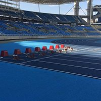 New Mondoturf Track At Olympic Stadium Is Installed