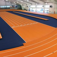 Clemson University Installed A Banked Indoor Track With Mondoturf Surface